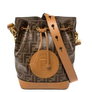 Fendi Brown Zucca Coated Canvas and Leather Mon Tresor Bucket Bag