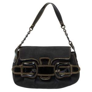 Fendi  Black Canvas And Patent Leather B Bis Shoulder Bag