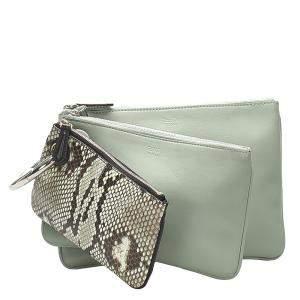 Fendi Green/Light Green Python Leather Triplette Clutch Bag