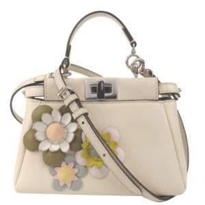 Fendi Beige Leather Embroidered Flower Mini Peekaboo Top Handle Bag