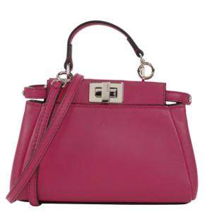 Fendi Pink Leather Mini Peekaboo Top Handle Bag
