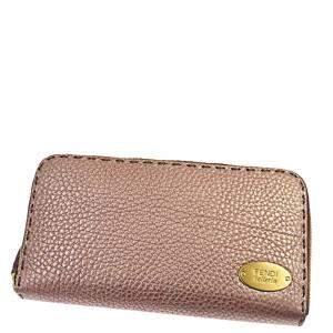 Fendi Pink Leather Selleria Zip-Around Wallet
