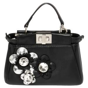 Fendi Black Floral Embellished Leather Micro Peekaboo Top Handle Bag