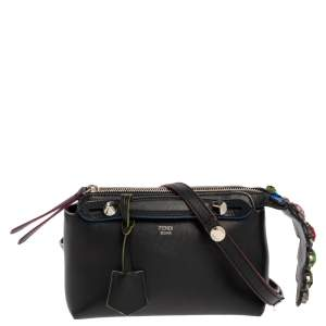 Fendi Black Leather Jewel Embellished Mini By The Way Bag