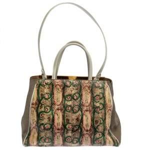 حقيبة يد فندي 2جور كانفاس و جلد ثعبان مطبوع متعدد الألوان
