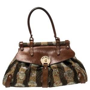 Fendi Tobacco Pequin Striped Fabric and Leather Magic Shoulder Bag
