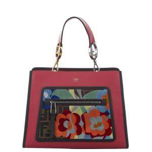 Fendi Red Leather Embroidered Runaway Century Small Tote Bag