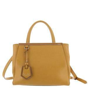 Fendi Yellow Leather Petite 2Jours Tote