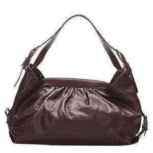 Fendi Red/Burgundy Leather Shoulder Bag