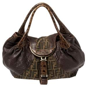 Fendi Tobacco Zucca Canvas and Leather Spy Bag
