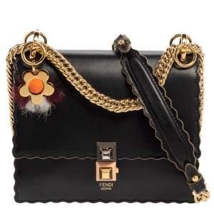 Fendi Black Leather Small Scalloped Kan I Shoulder Bag