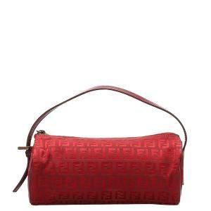 Fendi Red Zucchino Canvas Baguette Bag