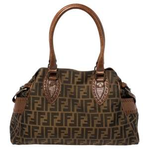 Fendi Tobacco Zucca Canvas and Leather Chef De Jour Bag