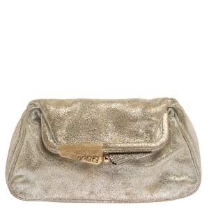 Fendi Metallic Silver Suede Borderline Clutch