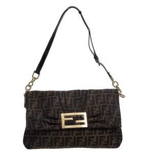 Fendi Tobacco Zucca Canvas and Patent Leather Mia Flap Bag