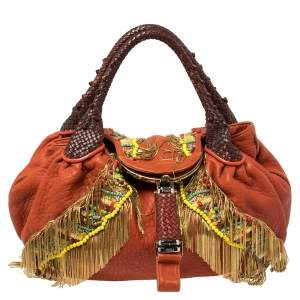 Fendi Multicolor Leather, Beaded and Fringe Embellished Spy Bag