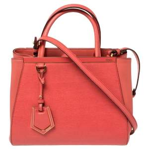 Fendi Orange Leather Mini 2jours Tote