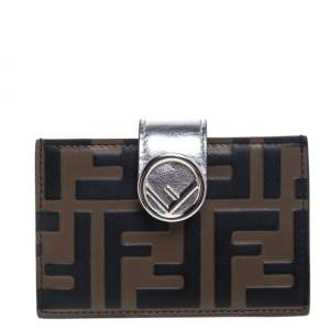 Fendi Tobacco/Silver Zucca Leather Maya Card Holder
