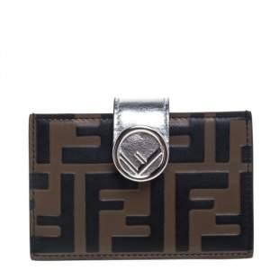 Fendi Tobacco/Silver Zucca Leather Maya Card Holder