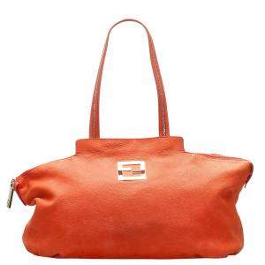 Fendi Orange Leather Chains Tote Bag