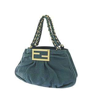 Fendi Green Leather Mia Shoulder Bag