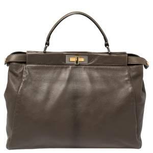 Fendi Olive Green Leather Large Peekaboo Top Handle Bag