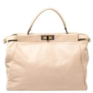 حقيبة فندي بيكابو جلد بيج كبيرة بيد علوية