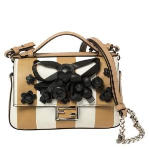 Fendi Multicolor Leather Flower Embellished Micro Double Baguette Bag