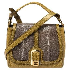 Fendi Yellow/Grey Stingray and Leather Anna Shoulder Bag