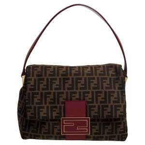 Fendi Tobacco/Red Zucca Canvas and Leather Mama Forever Shoulder Bag
