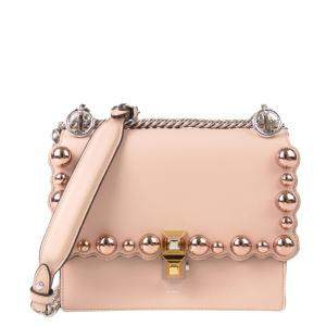 Fendi Pink Leather Kan I Pearl Small Crossbody Bag