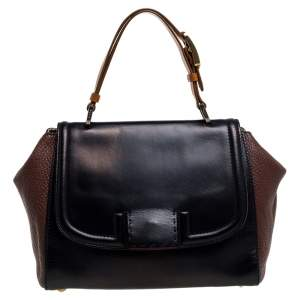 Fendi Black/Brown Leather Silvana Top Handle Bag