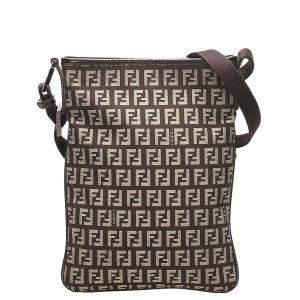Fendi Brown/Beige Zucchino Canvas Crossbody Bag