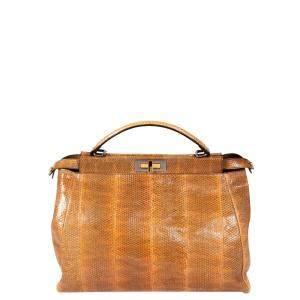 Fendi Brown Python Mini Peekaboo Top Handle Bag