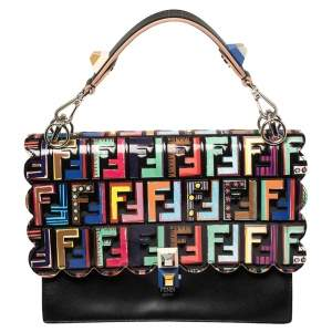 Fendi Multicolor Leather Zucca Embossed Kan I Top Handle Bag