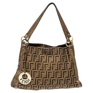 Fendi Brown Zucca Canvas and Textured Leather Chef Tote