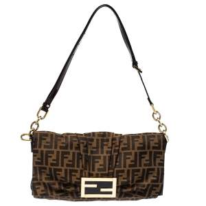 Fendi Tobacco Zucca Canvas and Patent Leather Mia Flap Bag