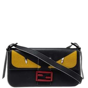 Fendi Black Leather Monster Baguette Mania Bag