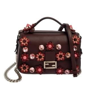 Fendi Dark Red/Light Pink Flowerland Leather Double Micro Baguette Bag