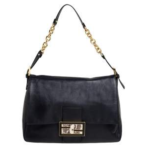 Fendi Black Leather And Water Snake Mama Forever Shoulder Bag
