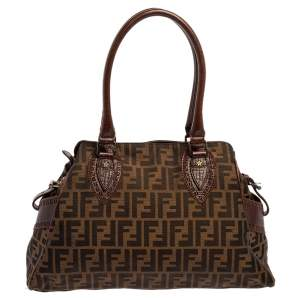 Fendi Tobacco Zucca Canvas Chef De Jour Bag