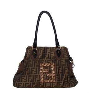 Fendi Tobacco Zucca Grommet Canvas and Nubuck Leather Chef De Jour Bag