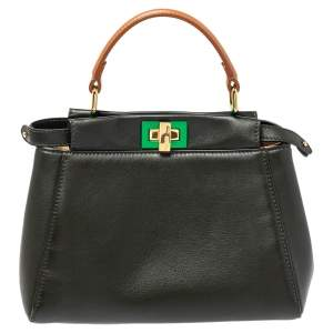 Fendi Dark Green and Beige Leather Mini Peekaboo Top Handle Bag