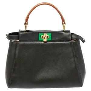 Fendi Dark Green and Beige Leather Mini Peekaboo Top Handle Bag