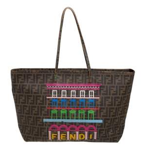 Fendi Tobacco Zucca Coated Canvas Spalmati Roll Shopper Tote