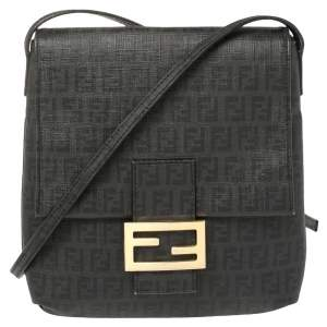 Fendi Black Zucchino Coated Canvas FF Flap Messenger Bag