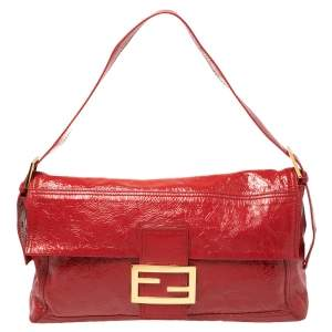 Fendi Red Crinkle Patent Leather Large Mamma Baguette Shoulder Bag