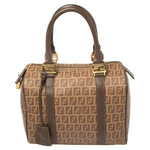 Fendi Brown Zucchino Coated Canvas and Leather Small Forever Bauletto Boston Bag