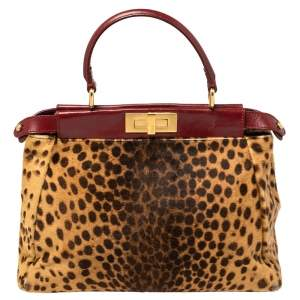 Fendi Brown/Burgundy Calf Hair and Leather Medium Peekaboo Top Handle Bag