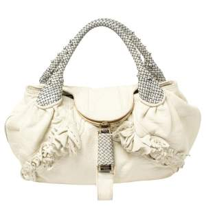 Fendi White/Blue Leather Wisteria Spy Bag